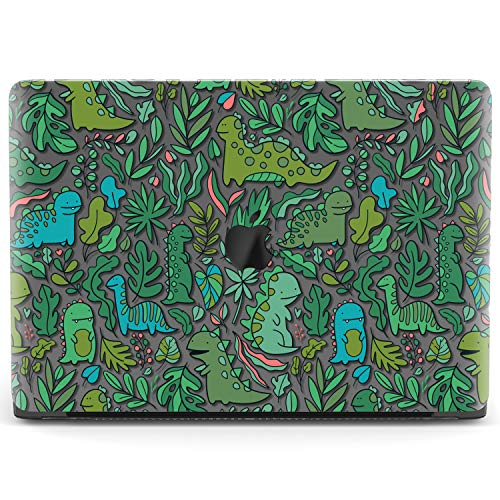 Mertak Hard Case for Apple MacBook Pro 16 Air 13 inch Mac 15 Retina 12 11 2020 2019 2018 2017 Animals Plastic Kawaii Touch Bar Cover Laptop Print Dinosaurs Design Leaves Protective Clear Cute Green