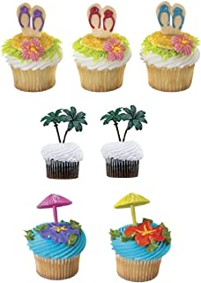 DECOPAC Summer Beach Umbrella Flip Flop and Palm Tree Cupcake Toppers- 24 Count