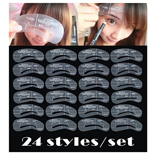 24 Styles Eyebrow Shaping Stencils, Eyebrow Grooming Stencil Kit, Reusable Makeup Design Shaping Templates DIY Tools