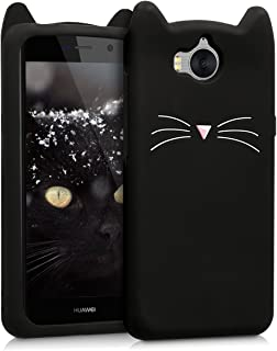 kwmobile Silicone Case Compatible with Huawei Y6 (2017) - Soft Protective Mobile Cell Phone Cover - Cat