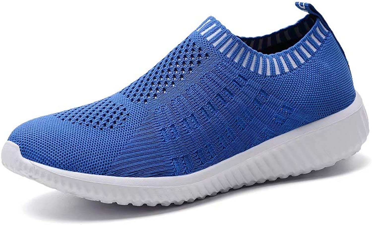 Konhill Women's Lightweight Casual Walking Athletic shoes Breathable Mesh Running Slip-On Sneakers, bluee, 37