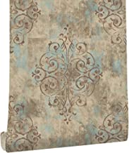 HaokHome 79603 Vintage French Damask Wallpaper Deep Yellow/Mist Blue/Brown for Home Bathroom Kitchen Accent Wall 20.8