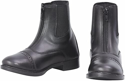Kids Horse Riding Equestrian Boots TuffRider Childrens Starter Front Zip Paddock Boots with Free Assorted Striped Socks