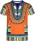 COSAVOROCK T-Shirt Dashiki Traditionnelle Africaine Hippy pour Hommes Orange L