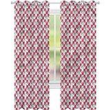 YUAZHOQI Cortinas de oscurecimiento de habitación geométricas retro azulejos de círculos cortinas personalizadas 52' x 84' (2 paneles)
