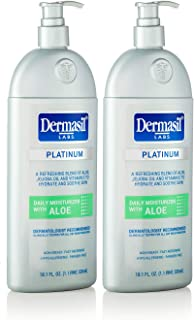 Aloe Face Moisturizer Body Lotion - Dermasil Labs Dermatologists Treatment for Soothing All Day Body Moisturizer by Dermasil Platinum: Protects, Moisturizes and Softens Dry Skin Lotion (Pack of 2)