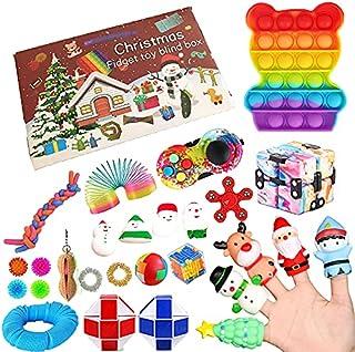 Fidget Adventskalender 2021,24DAYS Kerst Countdown Kalender Sensorische Fidget Packs met Push Pop-On-It Fidget Speelgoed S...