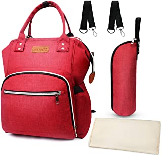 Diaper Bag Backpack, esafio Fashion Multifunction Travel Mommy Backpack Baby Bag with Stroller Hooks + Bottle Bag + Urine Pad, Large Capacity, Waterproof and Stylish, Red