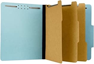 Pressboard Classification File Folder with 3 dividers and Fasteners, Letter Size, Blue, 2