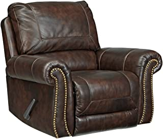 Ashley Furniture Signature Design - Bristan Traditional Style Faux Leather Rocker Recliner - Pull-Tab Reclining - Walnut Brown