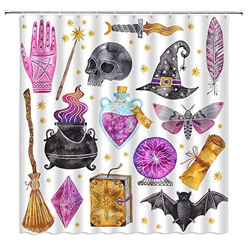 Halloween Duschvorhang Schwarz Alchemy Magic World Hexe Hexe Totenkopf Gruselige Geister Aquarell Boho für Mädchen Jungen Stoff Badezimmer Dekor Vorhang mit 12 Haken, 180 x 180 cm, Lila Grau Gelb