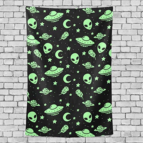 FANTAZIO Fantasio Wandbehang/Überwurf, Motiv: Alien UFO Mond, vertikal, Grün, Polyester, 1, 60x51(in)