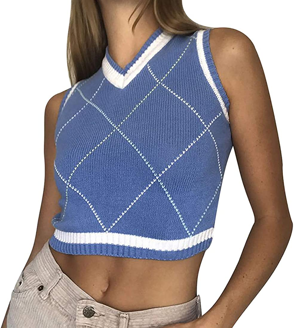 HIFUAR Womens Sweater Vest Sleeveless Streetwear Preppy Style Knit Tank Top Argyle Plaid Knitted Cropped V-Neck Vest Blue