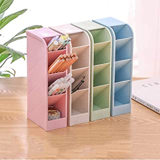 4 PCS Multi-Functional Desk Organizer, LAIBUY Pen Storage Holder Box with 16 Compartments for Home School Office Desk Supplies