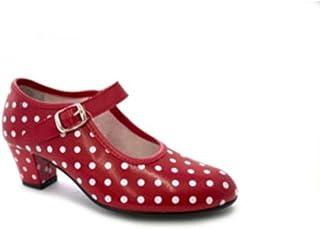 Zapato Baile sevillanas Flamenco Lunares Blancos para niña o Mujer Danka en Rojo T1551
