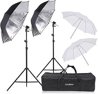 Flash Shoe Mount,Andoer Off Camera Double Speedlight Flash Shoe Mount Swivel Soft Umbrella Kit 2 * 2m Light Stand +2 * 83c...