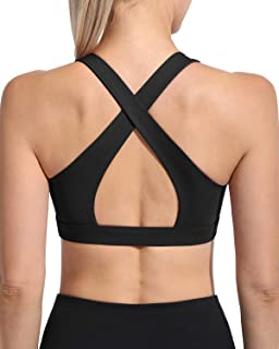 WALK FIELD Women's Criss Cross Sports Bras - Padded Wirefree Yoga Bra Backless Fitness Workout Bra
