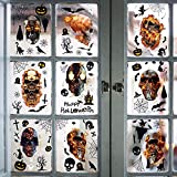XIAMU Calcomanías estáticas para ventana de Halloween con calavera de horror para ventana, nevera, decoración navideña, 9 hojas