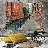 Yaoni Tapestry Pared paño Mantel Toalla de Playa,Venecia, Calles idílicas vacías de Venecia Destino del Viaje Vacaciones románticas Edifi,Decoraciones para el hogar para la Sala de Estar Dormitorio