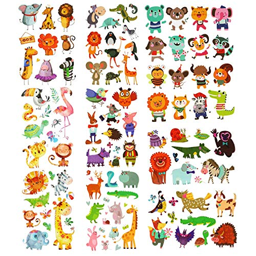 PHOGARY Zoo Tatuajes De Animales 200 Piezas 20 Hojas Tatuajes Temporales con Temática Animal Body Art Tatuajes a Prueba De Agua para Niños