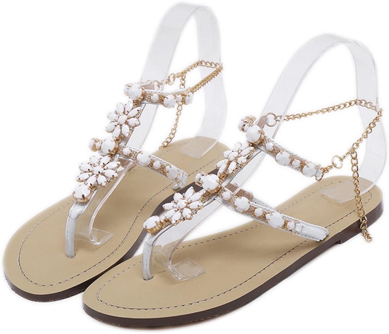 Genepeg Womans Sandals Rhinestones Chains Thong Gladiator Crystal Flat Heels Sandals