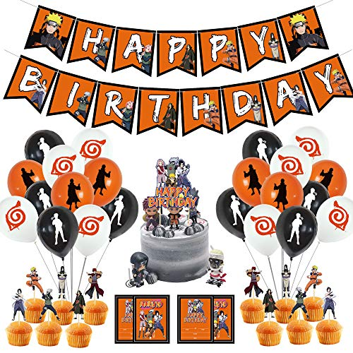 TANJIROU Naruto Party Supplies Birthday Decorations 78 Pcs Party Favors Cupcake Toppers Balloon Banner Stickers Chocolate Wrappers for Japanese Ninja Anime Themed Party