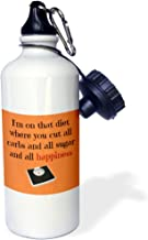 3dRose wb_180090_1 Diet Cutting Out All Happiness, Black Lettering With Picture Of Scale Sports Water Bottle, 21Oz, Multicolored