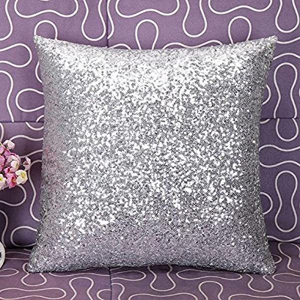 ShinyBeauty Sequin Pillow 20x20 2 Pack Silver Glitter Pillows Decorative Throw Pillows Pillow Decorative Sparkles Holiday Throw Pillows N12 27