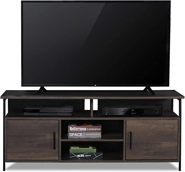 Sekey Home 58 Entertainment Center Wood Media TV Stand Storage Console Smoky Oak