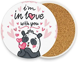 Bear Cute Panda In-Love With Kiss Hearts Lettering Coasters,Protection for Granite,Glass,Soapstone,Sandstone,Marble,Stone Table - Perfect Wood Coasters,Round Cup Mat Pad for Home,Kitchen or Bar Set o