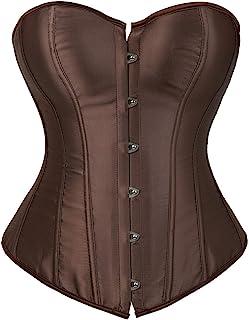 f86ae0f85b Kranchungel Women s Bustier Corset Sexy Satin Brocade Overbust Waist  Cincher Shapewear Top