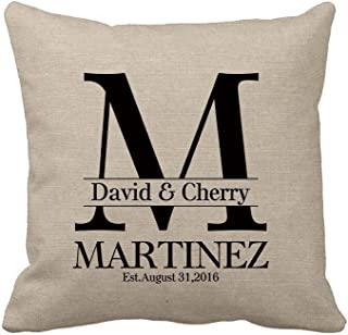 Personalized Gifts for Wedding Custom Burlap Pillow Cover with Name Cotton Linen Square Throw Pillow Cover Gifts for the Couple