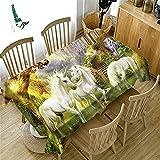 YGHBKL Dream Horse Series - Mantel rectangular de poliéster 3D, para picnic, plástico, decoración del hogar, diámetro de 60 cm