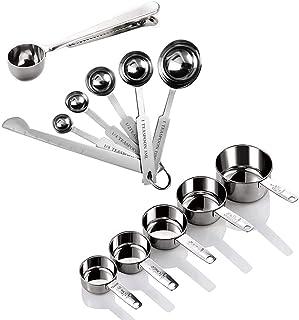 Vegena Ensemble Cup Mesure et Cuillères doseuses, Cuillères et Tasses à mesurer en Acier Inoxydable avec Mesure Règle,5 Ta...