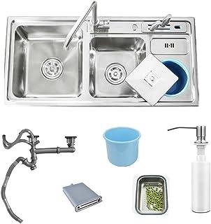 HomeLava Küchenspüle 304 Edelstahl, mit Abtropffläche und Abtropfgestell, mit Seifenspender, Wasserhahn nicht im Lieferumfang enthalten