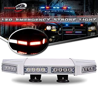 TERRAIN VISION 56 LED 18 Inch Red White Emergency Warning Strobe Lights Flash Directional Roof Top Led Light Bar for Snow Plow Truck Mail Carrier Pickup Truck Jeep Dodge Ram RZR SUV Silverado Ford
