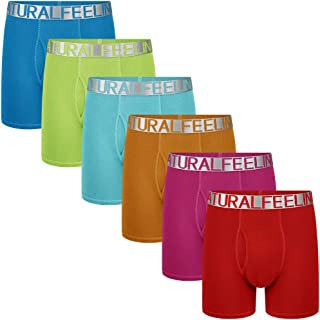 Natural Feelings Cotton Mens Boxers Briefs Colorful Mens Underwear Boxer Briefs with Open Fly Pouch
