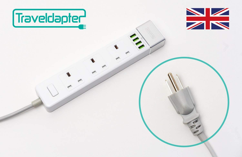 Adaptador de viaje CANADÁ Cable de Extensión Multi Seguro de Strip 7 entradas cable ultracompacto para