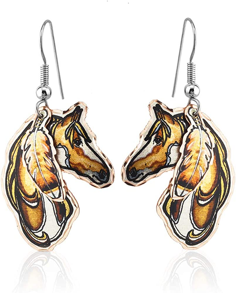 Latest item Women Girls Horse Earrings with Feather Hawk Handmad Copper Red Cheap bargain