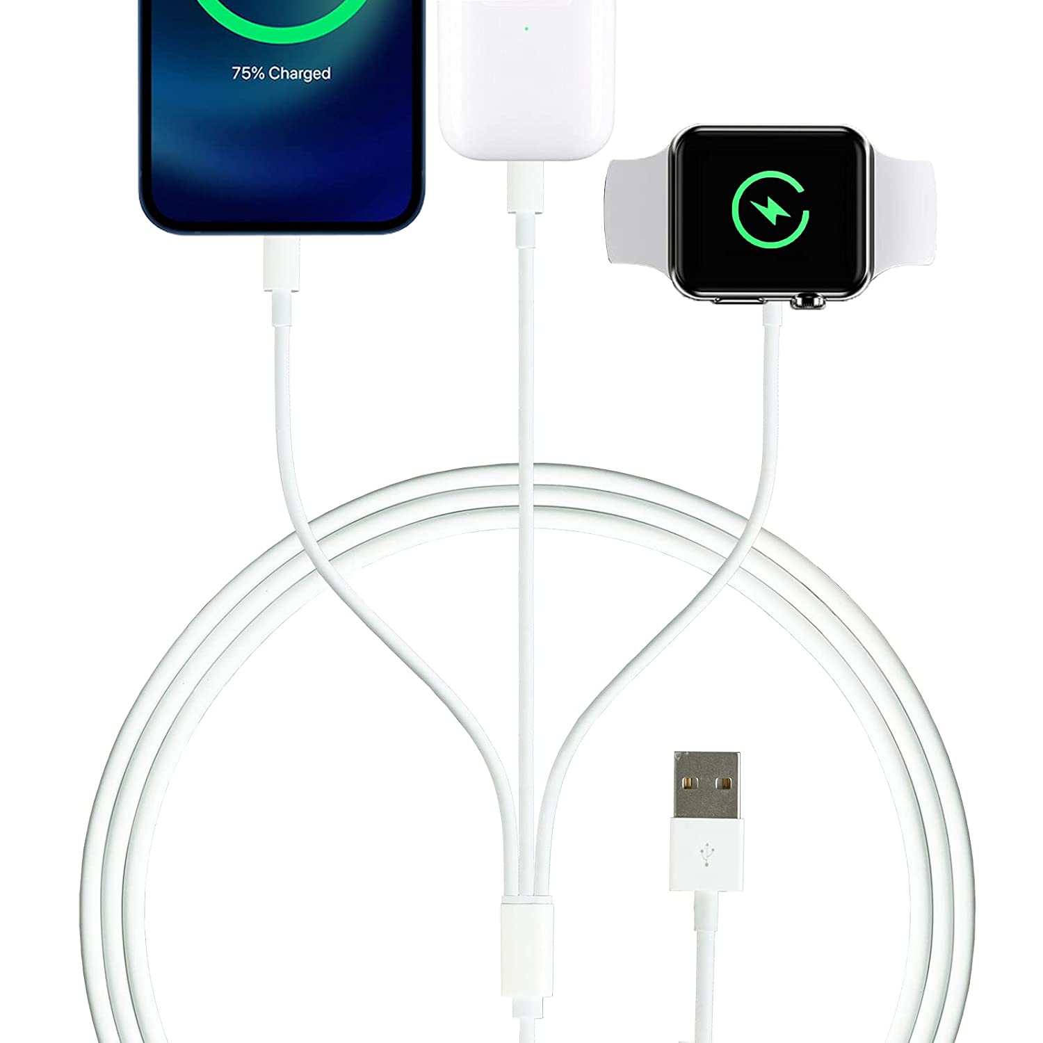 iWatch Charger Cable, Wansurs 3 in 1 Cable for iPhone and Watch Charger Compatible with Watch Series 1 2 3 4 5 6 SE and Phone 5-13 ProMax, Travel Portable Charging Cord (1M)