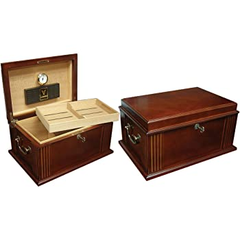 Prestige Import Group Caesar Classic Antique Cigar Humidor - Holds Up to 50 Capacity - Color: French Antique Walnut