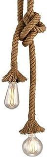 Lámpara de techo colgante de cuerda MQUPIN de doble cabeza de 1 m, estilo vintage, cáñamo, casquillo E27, lámpara de techo retro, lámpara de techo vintage para comedor, restaurante, bar (2 cabezales)