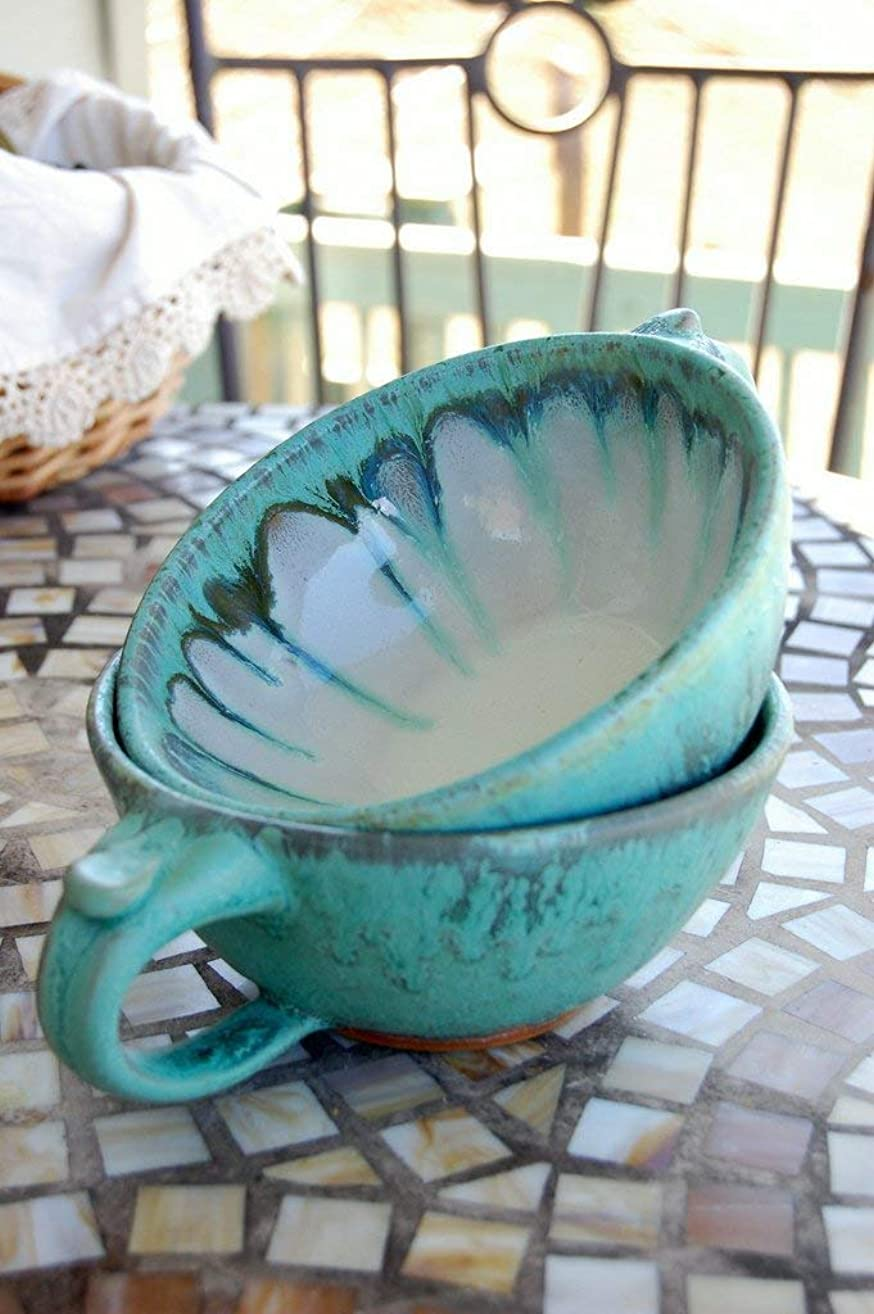 Soup Mug or Cappuccino Cup In Turquoise
