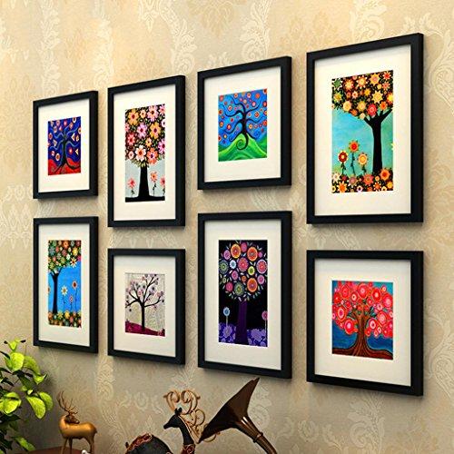 TSJT Fototapete Massivholz Bilderrahmen Europäischer Stil Wohnzimmer Schlafzimmer Hintergrund Mauer Dekoration (8 Rahmenkombination) , 002