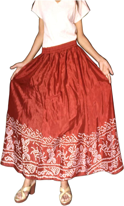 Lakkar Haveli Women's Silk Long Skirt Casual Hippie Beach Wear Solid Maroon Color Gypsy Baggie Plus Size