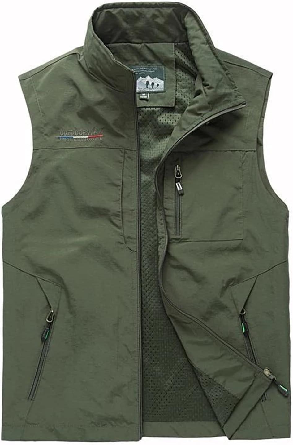 WFEI Men's Vest Summer Autumn Mesh Vest Many Pockets Men Outdoors Thin Classic Waistcoat Male Photographer Sleeveless Jacket,Green,XXL