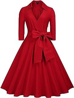 Miusol Women's Deep-V Neck Classical Bow Belt Vintage Casual Swing Dress