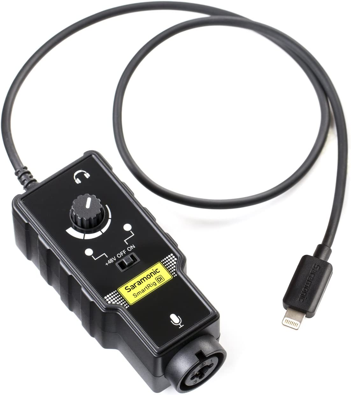 Saramonic SmartRig-Di Micrófono XLR y interfaz de guitarra de 6.3 mm con conector Lightning certificado por Apple MFi para iPhone, iPad, iPod, iOS Smartphones y tabletas