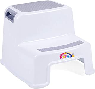 Double Step Stool for Kids, Baby Step Stool with 2 Steps, Toddlers Step Stool in Kitchen Toilet Bathroom, Step Stool for Potty Training, Gray