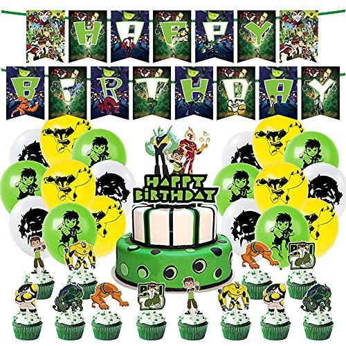 Ben 10 Forniture Feste, Bambini Palloncino Decorazione Compleanno Decorazione Set Happy Birthday Banner Cake Topper Palloncino Lattice per Bambini Compleanno Feste Decorazione Forniture